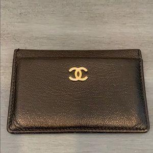 Chanel Vintage Card Holder Black W Gold
